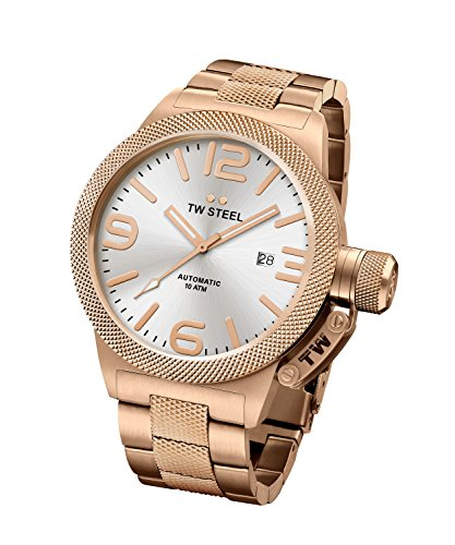TW Steel Men's Canteen Watch Rose Gold PVD Stainless Bracelet Auto 45mm CB165