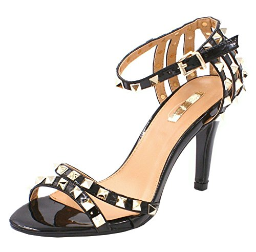 Womens Ladies Faux Patent Leather Studded Ankle Buckle Strap Open Toe Dressy Fashion Sandals Shoes - D47 Black c8d2xuq1M7