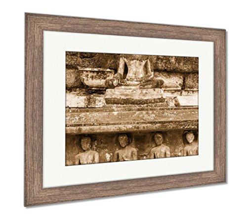 Ashley Framed Prints Old Stone Carvings Of The Buddha Image And Monks On The Ancient Temple Wall, Wall Art Home Decoration, Sepia, 26x30 (frame size), Rustic Barn Wood Frame, AG5261971 - Ancient Stone Frame