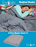 EzyCalm Weighted Comforter Blanket for Adults - Premium Quality Gravity Blanket for Anxiety and Stress Relief. WITH BONUS $45 BLANKET COVER! 20lbs. 60in x 80in for 170-230 lbs people.