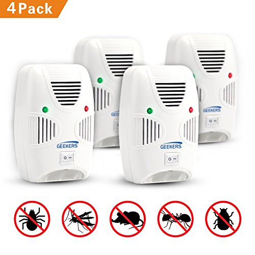 GEEKERS Ultrasonic Pest Repeller - Rodents Repeller - Insects Repellent - Repels Spiders, Mice, Bugs, CockRoaches, Mosquitoes, Flies, Rodents, Insects - Humans & Pets Safe [4-Pack]