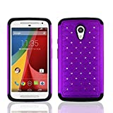 Motorola Moto G 2 2nd Gen 5'' G2 Case, Nex® Hybrid Rugged Bling Diamond Hard Case Cover for Motorola Moto G 2 2nd Gen 5'' G2 (purple+black)