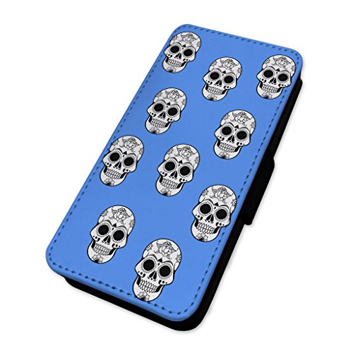 Candy Tattoo teschi – blu modello – Flip cover in pelle copertura di carta Apple Iphone 8