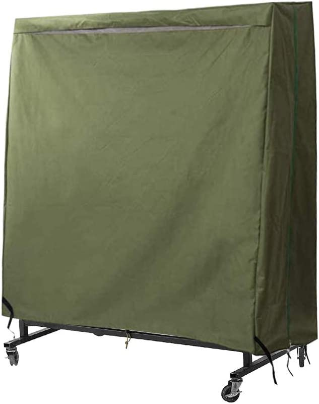 Outdoor Ping Pong Table Cover, 210D Heavy-Duty Waterproof Table Tennis Cover, Table Cover with Drawstring Repellent UV Protection (Green)