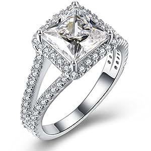 Vibrille Sterling Silver Split Shank Princess-Cut Diamond CZ Cubic Zirconia Halo Engagement Ring for Women Size 5