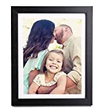 8X10 Black Picture Frame-Made to Display Pictures 5x7 with Mat or 8x10 Without Mat-Hanging Hardware Included in Photo Frame