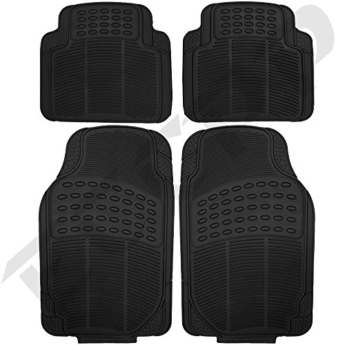 ECCPP 4pc Full Set Ridged Heavy Duty Rubber Floor Mats, Universal Fit Mat for Car, SUV, Van & Trucks - Front & Rear, Driver & Passenger Seat (Black) (Floor Mats For 2010 Jeep Liberty)