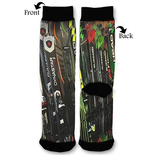 Twin Tip Snow Skis High Ankle Socks,Men Women All Season Sock,Soft Cotton Breathable Printed Rib Sox