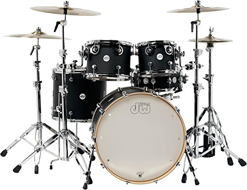 DW Design Series 5-Piece Lacquer Shell Pack with Chrome Hardware Satin Black ()