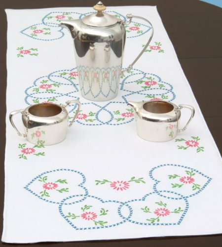 Jack Dempsey Stamped Table Runner/Scarf, 15 by 42-Inch, Starburst of Hearts