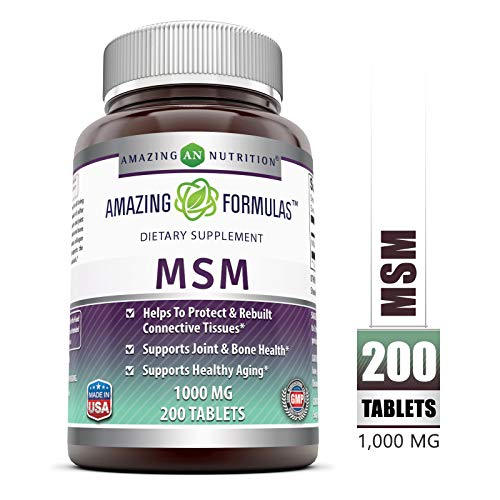 Amazing Formulas MSM (Methylsulfonylmethane) Dietary Supplement - 1000 mg - 200 Tablets Per Bottle- Promotes Joint Health, Detoxification, Supports Healthy Hair, Skin and Nails, Promotes Energy*