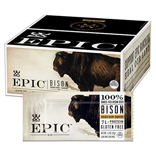 EPIC Bison Bacon Cranberry Bars, Grass-Fed, Paleo Friendly, 12 Ct Box 1.3 Oz Bars