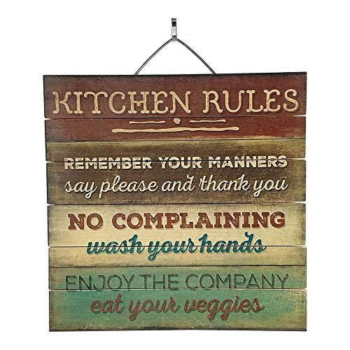 (Imprints Plus Kitchen Rules Distressed Wood Sign, 12