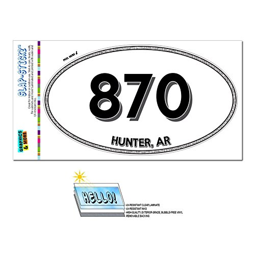 Hunter Fountain (Graphics and More Area Code Oval Window Laminated Sticker 870 Arkansas AR Fountain Hill - Jersey - Hunter)
