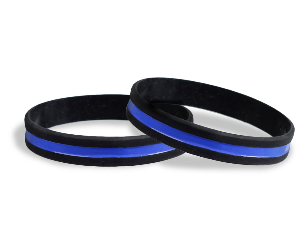 50 Pack Police Support Thin Blue Line Silicone Bracelets in a Bag (Wholesale Pack - 50 Bracelets)