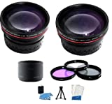 Must Have HD Lens & Filter Set Includes HD Wide Angle Lens + 2X Telephoto Lens + 3 Piece Filter Kit + Tube Adapter + Mini Tripod + LCD Screen Protectors + Camera Cleaning Kit For Panasonic Lumix DMC-FZ35 FZ28 FZ18