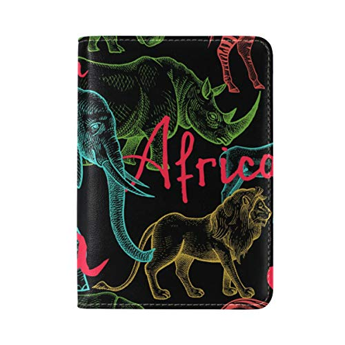 Africa Animal Elephant Leather USA Passport Holder Cover Travel Case by FENNEN