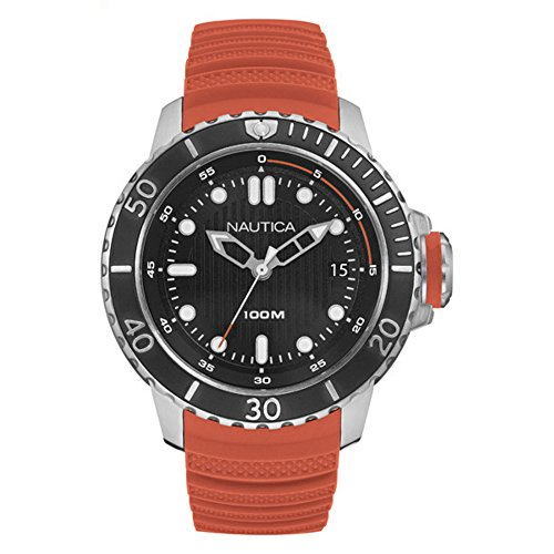 Nautica Men's 'NMX DIVE STYLE DATE' Quartz Stainless Steel and Silicone Casual Watch, Color:Orange (Model: NAD18518G)