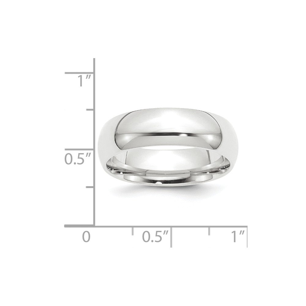 Platinum 8mm Half-Round Comfort Fit Lightweight Wedding Band Size 11 by Diamond2Deal (Image #2)