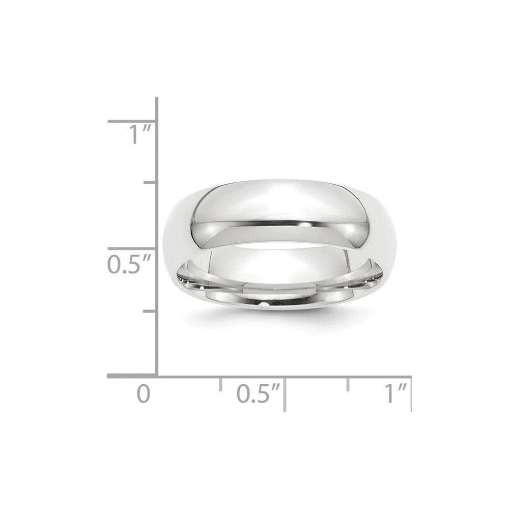 Platinum 8mm Half-Round Comfort Fit Lightweight Wedding Band Size 7 by Diamond2Deal (Image #2)