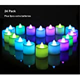 24 Pack LED Tea lights Candles – Flameless Flashing 7 Color Changing Tealight Candle – Battery Operated Electronic Fake Candles – Decoration for Party (Multi-color)