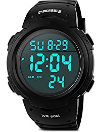 Mens Digital Sports Watch, Waterproof LED Screen Large Face Military Watches and Heavy Duty Electronic Simple Army Watch with Alarm, Stopwatch, Luminous Night Light - Black