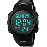 Men's Digital Sports Watch, Aposon Military Watches Outdoor Electronic LED Back Light Display Alarm Stopwatch Waterproof Casual Luminous Stopwatch Alarm Simple Army Watch- Black