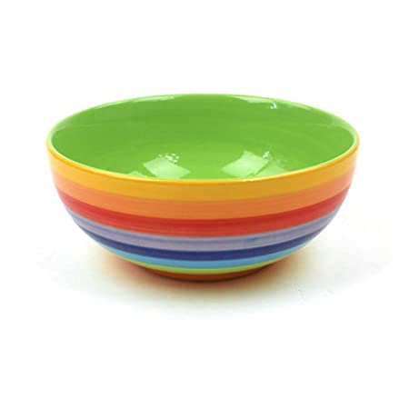 Windhorse Ceramics Rainbow Striped Breakfast Cereal Dessert Bowl