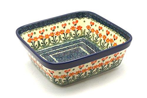 Polish Pottery Baker - Square - Peach Spring Daisy