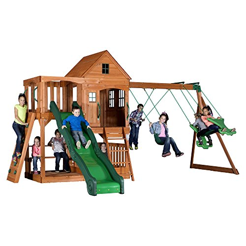 Backyard Discovery Pacific View All Cedar Wood Playset Swing Set (Best Outdoor Playset For 2 Year Old)