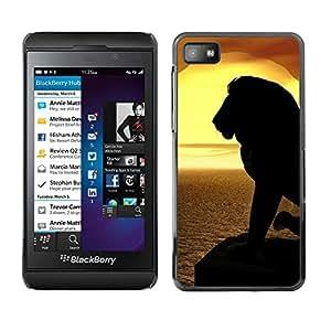 TopCaseStore / la caja del caucho duro de la cubierta de protección de la piel - Lion Silhouette Sunset Sea Ocean Summer - Blackberry Z10