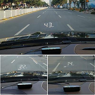 ACBungji Car Head up Display HUD OBD II GPS Dual Mode Speedometer Tachometer Projector RPM MPH Over Speed Alarm Voltmeter Water Temperature Warning Auto Truck SUV RV Universal (3.5
