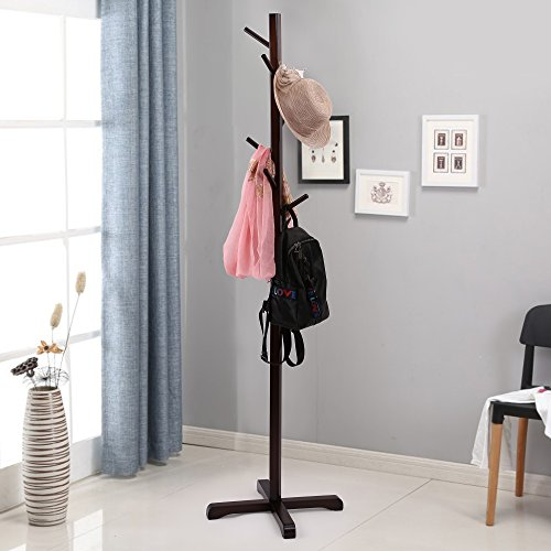 maxgoods Coat Rack Free Standing Modern DIY Heavy Duty Entryway Wooden Clothing Rack Hat Corner Hall Umbrella Stand Tree for Bedroom Living Room Office,Easy Assemble (Size 7)