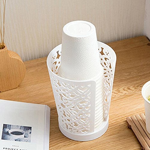 Home-organizer Tech 3 Pack Disposable Paper Cup Dispenser for Bathroom Countertops (White)
