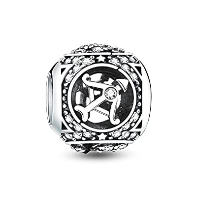Glamulet 12 Horoscope Zodiac Sign 925 Sterling Silver Charms Fit for Bracelet, Ideal Women's Gift by Glamulet