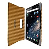 Skinomi Gold Carbon Fiber Full Body Skin Compatible with Samsung Galaxy View (18.4 inch)(Full Coverage) TechSkin with Anti-Bubble Clear Film Screen Protector