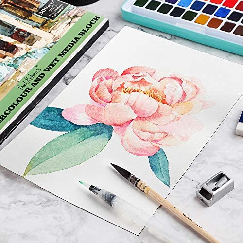 Paul Rubens Watercolor Block for Watercolors Wet Media Block, Artist Quality Acid Free 100% Cotton Cold Pressed Watercolor Paper with 7.6 x 10.6 inches, 20 Sheets