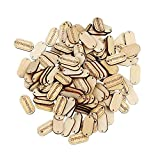 MAXGOODS 150Pcs Natural Wood Color Handmade Tag Label Wooden Shaped Embellishments Ornaments, Craft Decorations with 2 Holes Button Sew Accessories Scrapbooking Clothing Leather