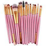 Makeup Brush Set,Neartime 15 pcs Eye Shadow Foundation Eyebrow Lip Brushes Beauty Brush Tool (Pink)