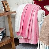 BEDSURE Sherpa Fleece Blanket Throw Size Rose Pink