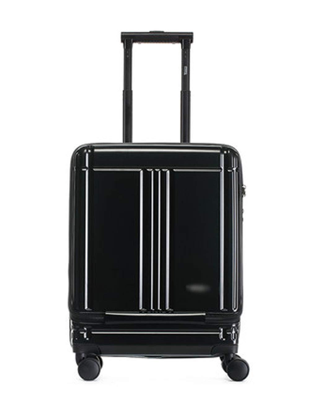 ミニビジネススーツケース、ポータブル360度回転ホイールデザイン、防水PC、レバーロックボックス (色 : 黒)   B07GKJCRQL