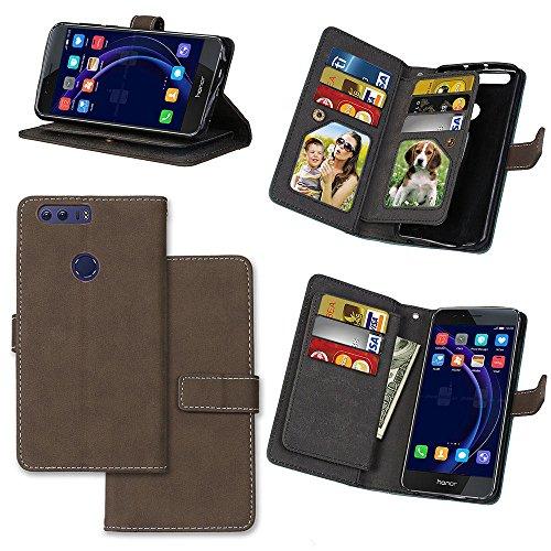 Honor 8 Hülle, Honor 8 Case, Anlike Schutzhülle für Huawei Honor 8 (5.2 Zoll) Ledertasche Flip Hülle Wallet Case Tasche Cover Handy Zubehör Lederhülle Handyhülle [Klassische Normallackserie] [Sand sch Grau