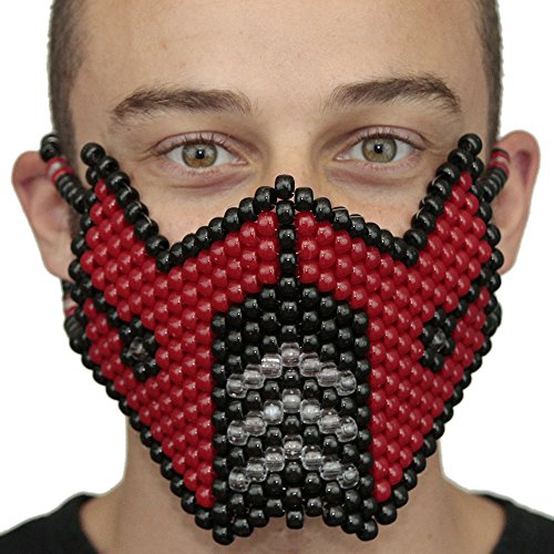 Original Halloween Mask From Kandi Gear - Mortal Kombat Red Subzero Full Kandi Mask (Women Of Mortal Kombat)