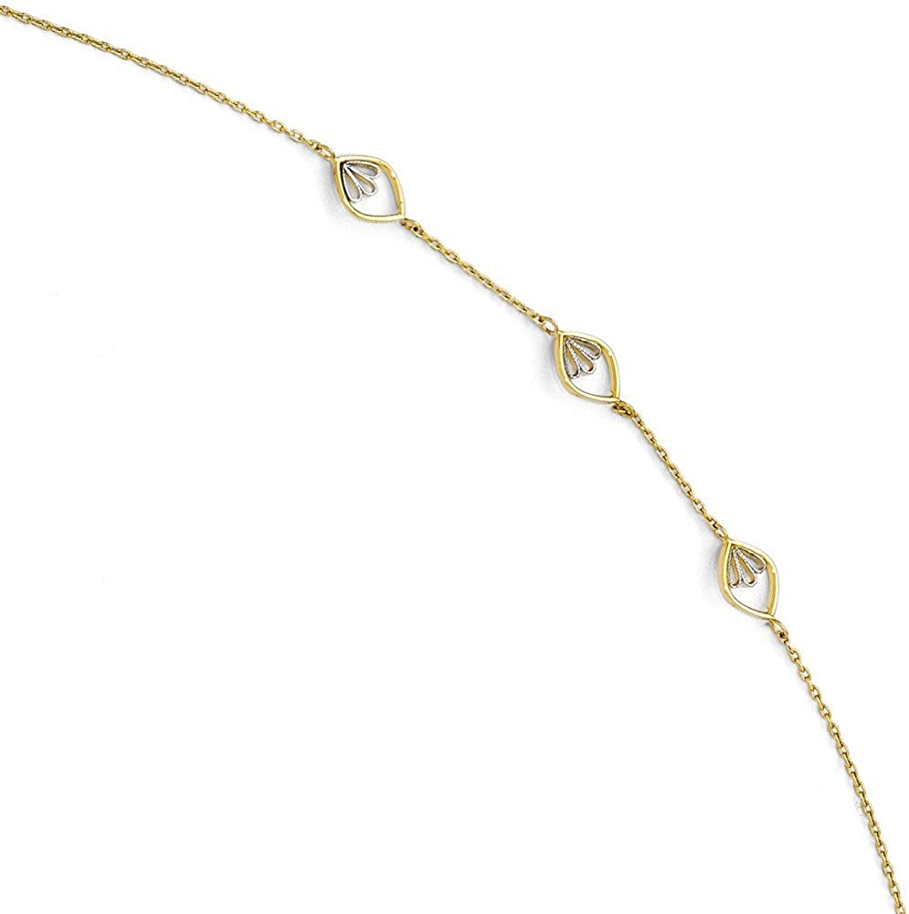 Sterling Silver Leslies Polished Textured Beaded Anklet 1in ext Solid 2 mm 9 in 2 mm 9 in Box Anklets with Stations Anklets Jewelry