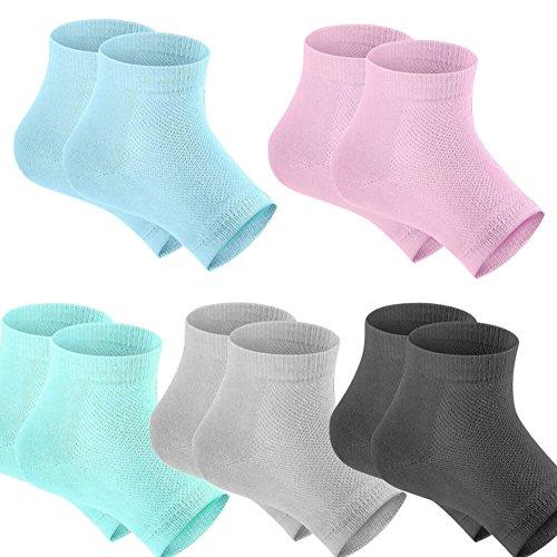 Selizo 5 Pairs Moisturizing Gel Heel Socks Open Toe Socks for Dry Hard Cracked Heels, 5 Colors