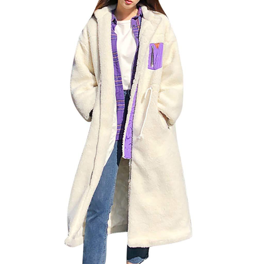 Wenini Fashion Womens Long Plush Overcoat Winter Patchwork Jacket Coat Warm Long Sleeves Plush Overcoat by Wenini