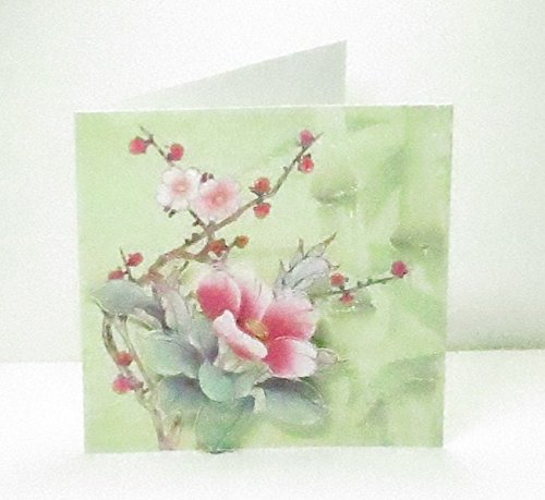 Bud Blank - Handmade 3D Oriental Pink Flowers & Red Buds Any Occasion Blank Square Greeting Card with Glittered Highlights - Limited Edition