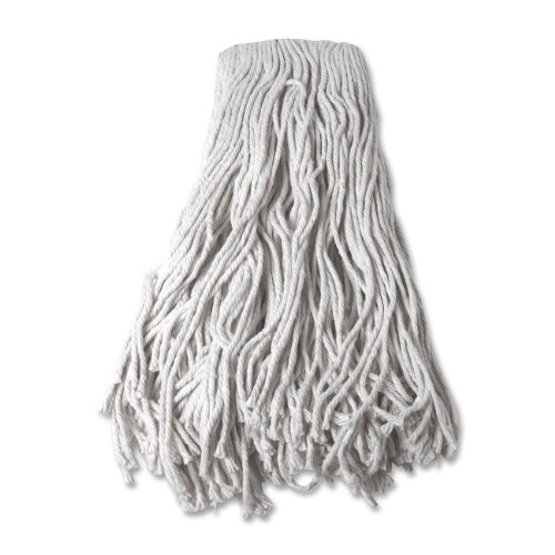 Mop Head Cotton 4 Ply - Genuine Joe GJO54204 Cotton 4-Ply Yarn Wet Mop Head Refill, 24 oz Material Weight, White