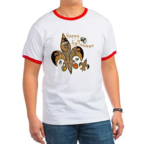 CafePress - Halloween Fleur de lis Skeleton Ringer T - Ringer T-Shirt, 100% Cotton Ringed T-Shirt, Vintage (New Orleans Halloween Vintage)