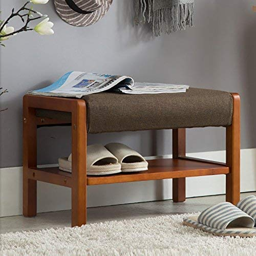JZX Shoe Rack, Solid Wood Fabric Sofa Bench, Footstool,Teak